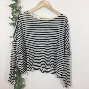 Eileen Fisher linen stripe crop semi sheer sweater